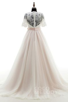 Sweet A-Line V-Neck Natural Court Train Tulle and Lace Ivory/Veiled Rose Half Sleeve Zipper With Buttons Wedding Dress with Appliques Beading and Sashes LD3927