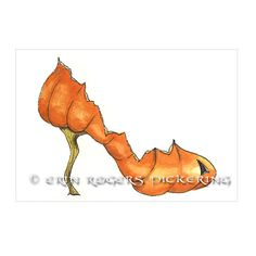 Pumpkin Stiletto fantasy shoe art print 5x7 by eringopaint on Etsy, $17.00
