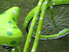 green with polka dots