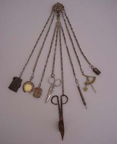 Victorian cut steel housekeeper's chatelaine with  8 implements