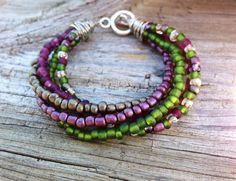 Seed bead wire wrap bracelet: