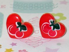 Ruby Red Cherry Heart Stud Earrings Kawaii Miniature by DIYArtMart