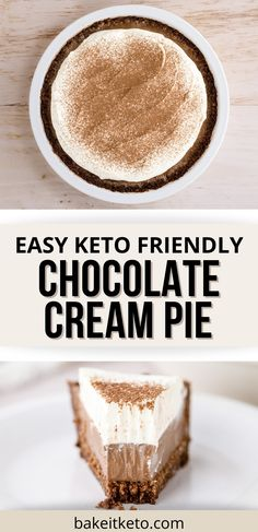 Low carb fudgy pudding filling with chocolate crust. This is the best filling because it's SO smooth and easy to make.