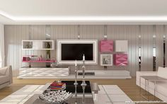 Living Room Modern, Living Room Interior, Home Living Room, Interior Walls, Bathroom Interior, Interior Ideas, Modern Interior, Interior Design, Modern Tv Cabinet