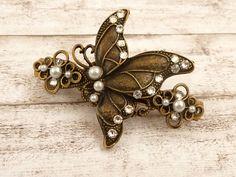 Schmetterling Haarspange in weiß bronze Braut Haarschmuck