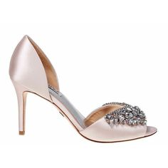 Badgley Mischka Candance Satin Open-Toe Pumps ($215) ❤ liked on Polyvore featuring shoes, pumps, light pink, jeweled pumps, embellished pumps, light pink shoes, jeweled shoes and satin shoes