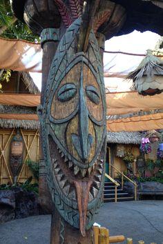 Tiki greetings at the entrance to Disneyland's Enchanted Tiki Room.
