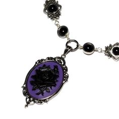 Steampunk Goth Jewelry - Necklace - Purple and Black Rose Cameo -  Black Onyx etsy.com $55.00