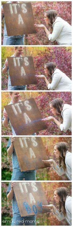Ideas Baby Reveal Ideas For Family Gender Announcements Kids Gender Announcements, Baby Boy Announcement, Gender Reveal Announcement, Gender Party, Baby Gender Reveal Party, Gender Reveal Box, Gender Reveal Photography, Photography Ideas, Glitter Gender Reveal