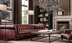 Brown Leather Chesterfield Sofa In Living Room Brown Leather Chesterfield Sofa, Chesterfield Sofa Living, Living Room Designs, Living Room Sofa, Classy Living Room, Couches Living Room, Home Decor, Chesterfield Sofa Living Room, Leather Sofa Living Room