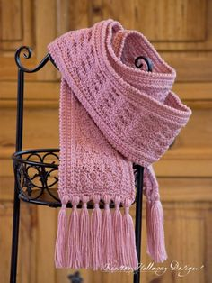 The beautiful La Vie En Rose Ladies Scarf is an easy free crochet pattern that crocheters of all skill levels, from beginner to experienced, will enjoy making Crochet Scarves, Crochet Shawl, Easy Crochet, Crochet Clothes, Crochet Stitches, Free Crochet, Knit Crochet, Crochet Granny, Knit Cowl