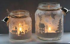 lights mason jar with silouette landscape - lygte i glas med silouetter af by og træer landskab - stad knippen uit wit plakplastic en daarna met spuitsneeuw aan de buitenkant erover Noel Christmas, Christmas Candles, Winter Christmas, Christmas Decorations, Christmas Ornaments, Christmas Lights, Mason Jar Crafts, Mason Jar Lamp, Candle Lanterns