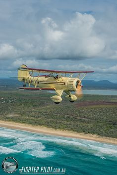 Waco Bi-Plane on a Fighter Pilot Sunshine Coast Australia adventure flight. Photography by Mark Greenmantle. Fighter Pilot, Fighter Jets, Adventure Company, Coast Australia, Aircraft Pictures, Aeroplanes, Sunshine Coast, Photography, Pilots