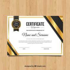 Elegant golden certificate template Free Vector Certificate Of Appreciation, Certificate Of Achievement, Award Certificates, Letterhead Template, Brochure Template, Flyer Template, Certificate Design Template, Parts Of A Flower, Cool Business Cards