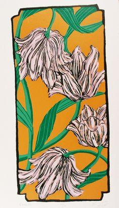 purple tulips screenprint