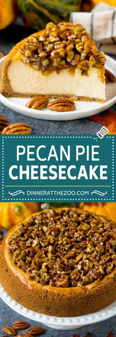 This pecan pie cheesecake is a creamy brown sugar cheesecake topped with a rich and decadent pecan sauce. Easy No Bake Desserts, Köstliche Desserts, Best Dessert Recipes, Desert Recipes, Sweet Recipes, Delicious Desserts, Vegetarian Desserts, Homemade Desserts, Easy Recipes