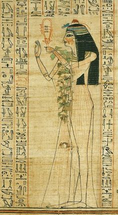 """Anhay playing the sistrum; on her left arm, branches of ivy. Detail from the """"Book of Coming Forth by Day"""" of Anhay, """"Chantress of Amon over the Phylae"""", """"Leader of the Musicians of Osiris"""", """"Leader of the Musicians of Nebtu and Khnum"""", and """"Lady of..."""