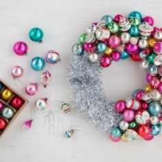 How to make your very own ornament Christmas wreath. Step-by-step tutorial.