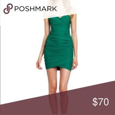 Strapless BCBG party dress Worn once in great condition. Strapless green dress. BCBGMaxAzria Dresses Strapless
