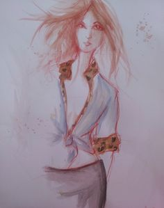 Fashion Illustration 3 Sept 9 2012(11X14, Watercolor and Conté crayon on paper)