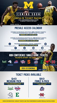 University of Michigan - Ticket Packs Presale for non-conference single-games and mini packs