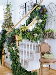 green staircase for Christmas