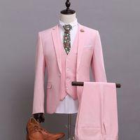 Slim Fit Mens Suits With Pants Grooms Pink Wedding Suit men Dress Suit Jacket Pants Vest P12