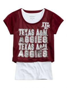 Aggie girl mesh crop shirt