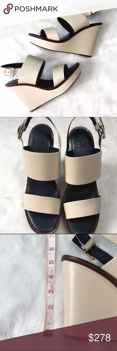 Tory Burch Lexington Wedges in Dulce de Leche These are minimalist CHIC! Buttery soft leather with navy blue foot beds and chocolate leather soles. Absolutely perfect for any look, skirts to denim to dresses! Tory Burch Shoes Wedges
