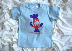 T-shirt celeste Spaventiamo il papà in cotone biologico certificato ICEA