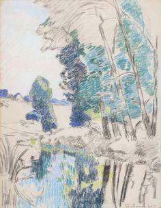""""""" Armand Guillaumin (French, 1841-1927), Les Bords de l'Orge à Breuillet, 1895. Pastel on paper, 60 x 47 cm. MuMa, Le Havre.  """""""
