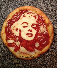 Marilyn Monroe Pizza.  Completely edible- cheese & tomato. Made by Domenico Crolla.