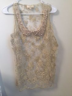 1998c1eb01d Anthropologie Moulinette Soeurs Gold Lace Pearls Beaded Sheer Cocktail Top  M