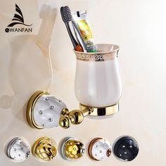 New Modern accessories luxury European style Golden copper toothbrush tumbler&cup holder wall mount bath product 5202 - ICON2 Luxury Designer Fixures  New #Modern #accessories #luxury #European #style #Golden #copper #toothbrush #tumbler&cup #holder #wall #mount #bath #product #5202