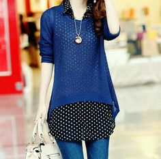 """seoulkisses: """" Blue Light Knit Sweater from Rosewholesale """" Dp Photos, Stylish Girl Pic, Girls Dpz, Pakistani Dresses, Simple Dresses, Pretty Outfits, Girl Outfits, Womens Fashion, Casual"""
