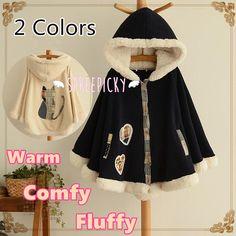 2 colors winter kawaii fluffy fleece cape with kitten on back sp141478