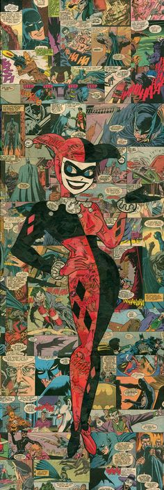 What I wouldn't give to have this ^-^ and the seller makes a joker one too! Adorable! Etsy listing at https://www.etsy.com/listing/187611038/harley-quinn-comic-collage-giclee-print