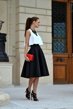 My Silk Fairytale street style midi skirt evening out Look Fashion, Indian Fashion, Girl Fashion, Fashion Dresses, Cute Skirts, Cute Dresses, Classy Outfits For Women, White Outfits, Preppy Style