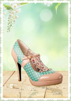 Banned 50er Jahre Rockabilly Schuhe Riemchen Pumps - Mary Jane - Mint