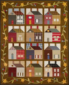 Plaid houses like the border vine! House Quilt Patterns, House Quilt Block, House Quilts, Quilt Blocks, Quilting Projects, Quilting Designs, Plaid Quilt, Primitive Quilts, Country Quilts