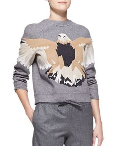 Embroidered Eagle Sweatshirt, Gray by Valentino at Neiman Marcus. Valentino Clothing, Valentino Dress, Pop Punk Fashion, Hipster Accessories, Embroidered Sweatshirts, Hipster Sweater, Drawstring Pants, Grey Sweatshirt, Sweat Shirt