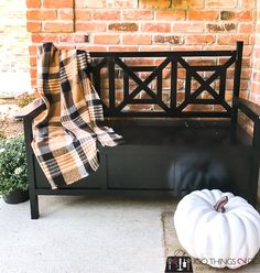 Outdoor bench with storage, DIY outdoor bench, outdoor bench DIY, deacon's bench, storage bench Porch Storage, Bench With Storage, Outdoor Storage, Porch Bench, Diy Porch, Outdoor Wall Art, Outdoor Walls, Outdoor Living, Outdoor Benches