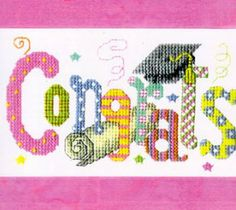 """""""Congrats"""" is the title of this cross stitch pattern from Bobbie G Designs that is stitched with DMC threads."""