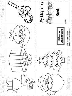 Christmas Coloring Books Printable New Itsy Bitsy Book Christmas Free Printable Christmas Worksheets, Christmas Worksheets Kindergarten, Preschool Christmas, Christmas Activities, In Kindergarten, Free Printables, Christmas Books, Kids Christmas, Xmas