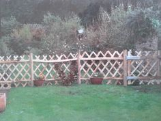 Sweet Chestnut trellis gate and fence Trellis Gate, Rabbit Fence, Sweet Chestnut, Fencing, Outdoor Structures, Rustic, Garden, Nature, Country Primitive