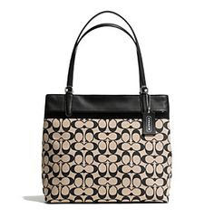 COACH SMALL TOTE IN PRINTED SIGNATURE FABRIC at www.herbergers.com