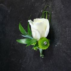 W Flowers product: Boutonniere in lime green and white