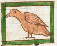 Bird detail from medieval illuminated manuscript, British Library Harley MS 3244, 1236-c 1250, f57r