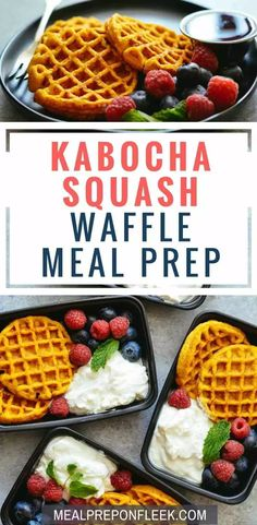 Kabocha Squash Waffle Meal Prep - Meal Prep on Fleek™ Kabocha Squash Waffle Meal Prep is a unique, paleo-friendly twist on regular waffles that will turn your breakfast into a vitamin A packed, sweet and healthy meal. Fitness Meal Prep, Paleo Meal Prep, Keto Meal, Paleo Meals, Paleo Diet, Low Carb Meal, Low Carb Dinner Recipes, Healthy Recipes, Apple Recipes