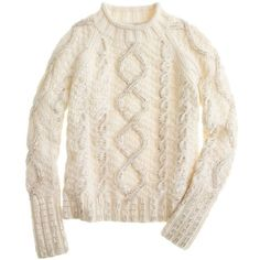 J.Crew Collection handknit beaded cable sweater (9 295 UAH) ❤ liked on Polyvore featuring tops, sweaters, shirts, jumper, antique white, long sleeve shirts, cable sweater, cuff shirts, j crew sweaters and cable knit sweater